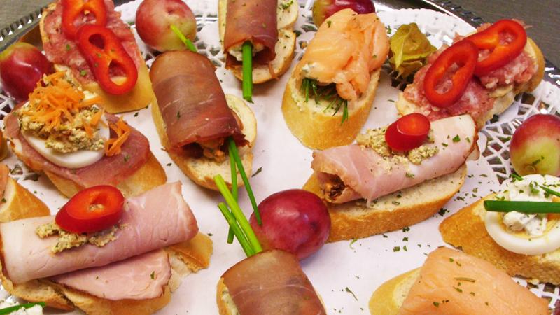 Plattenservice, Partyservice, Hochzeit, Canapes, belegte Brötchen, Fingerfood